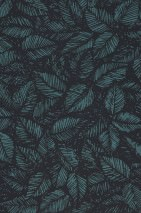 Wallpaper Diogenes Matt Leaves Blue Green Black