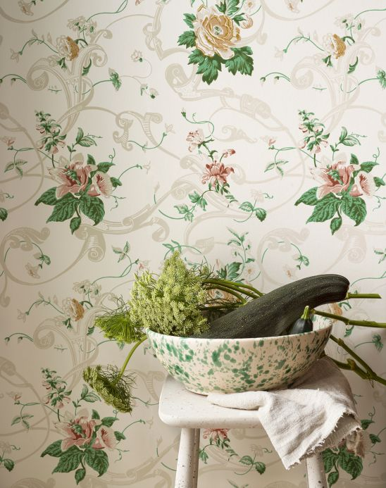 Floral Wallpaper Wallpaper Fasalla leaf green Room View