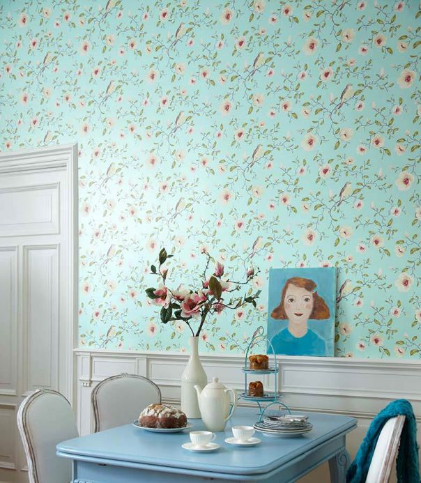 Archiv Wallpaper Sanja pastel turquoise pearl lustre Room View