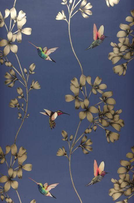 Floral Wallpaper Wallpaper Gesine grey blue Bahnbreite