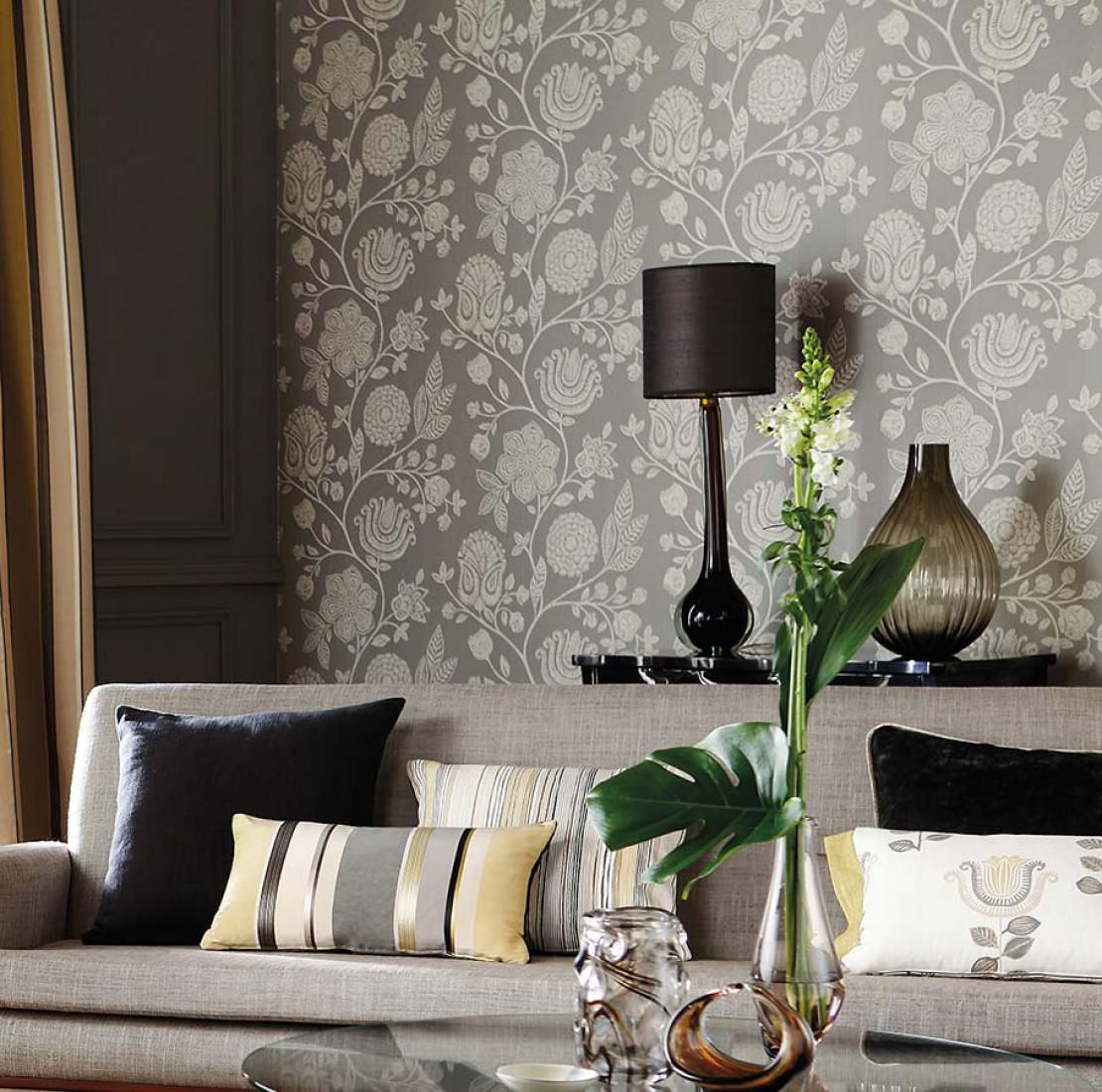 macha grau grauweiss florale tapeten tapetenmuster tapeten der 70er. Black Bedroom Furniture Sets. Home Design Ideas