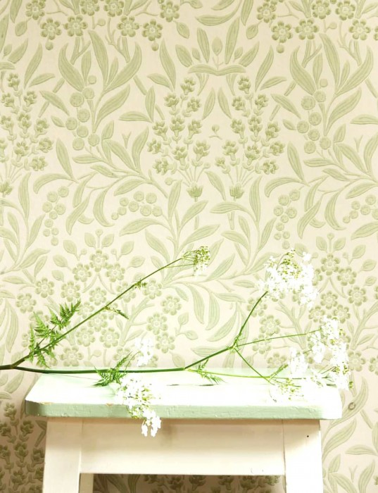 Wallpaper Geraldine Hand printed look Matt Leaf tendrils Floral tendrils Art nouveau Cream Pale green