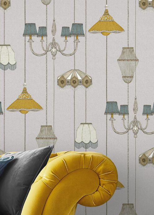 Funky Wallpaper Wallpaper Lampshade Heaven pebble grey Room View