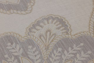 Wallpaper Mitra Matt Floral damask Light grey beige Beige grey Pebble grey Pearl gold