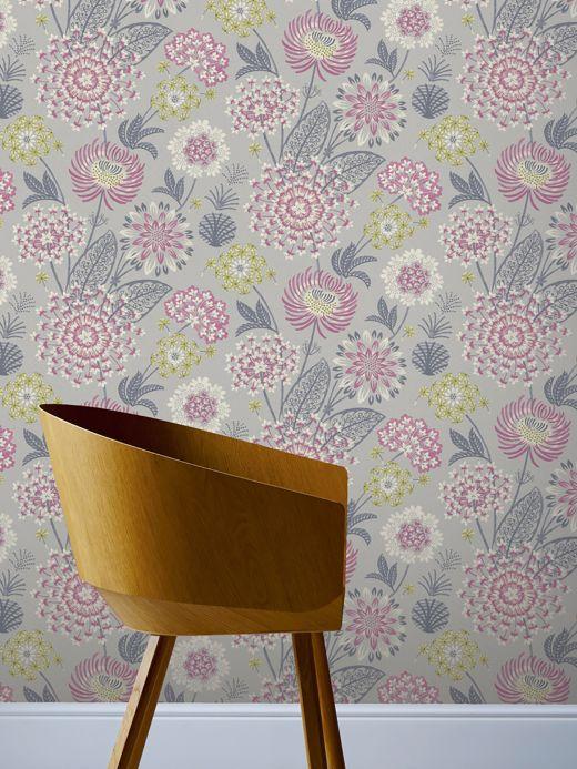 Floral wallpaper Wallpaper Grisella red violet Room View