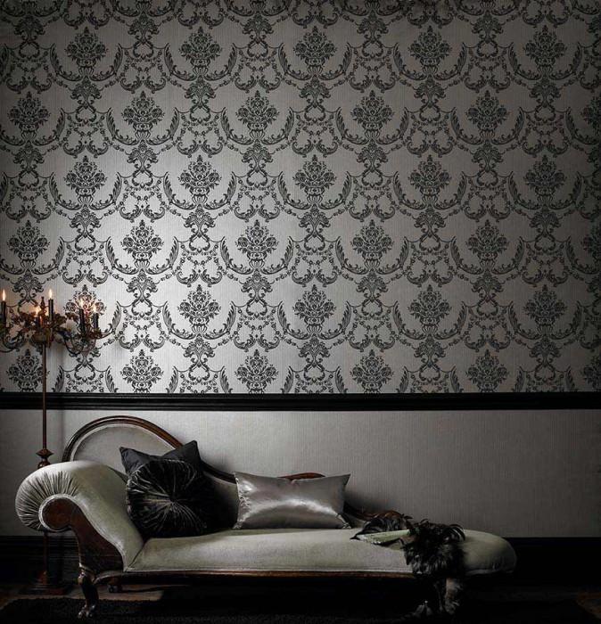 Wallpaper Satene Matt pattern Shimmering base surface Floral damask White gold Black grey