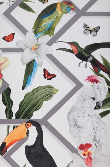 Wallpaper Linda Matt Leaves Blossoms Graphic elements Butterflies Birds White Blue Grey Grey white Shades of green Shades of red Saffron yellow