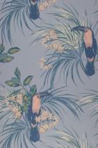 Papier peint Toucan Jungle Aspect impression à la main Mat Toucan Branches avec feuilles et fleurs Bleu gris clair Rouge beige Tons de gris Tons de vert