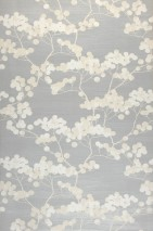 Wallpaper Rajapur Matt pattern Shimmering base surface Branches with blossoms Pearl light grey Cream Cream