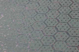 Wallpaper Imana Matt pattern Shimmering base surface Geometrical elements Hexagons Graphite grey Rose pearl lustre Pale green