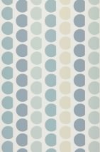 Wallpaper Satis Hand printed look Matt Graphic elements Cream Pale green blue Blue grey Light pastel turquoise Pebble grey