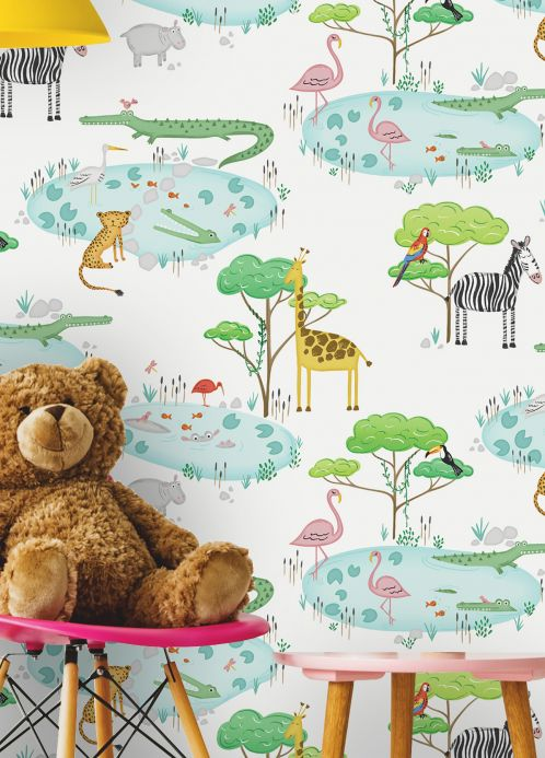 Children's Wallpaper Wallpaper Sunny shades of green Room View