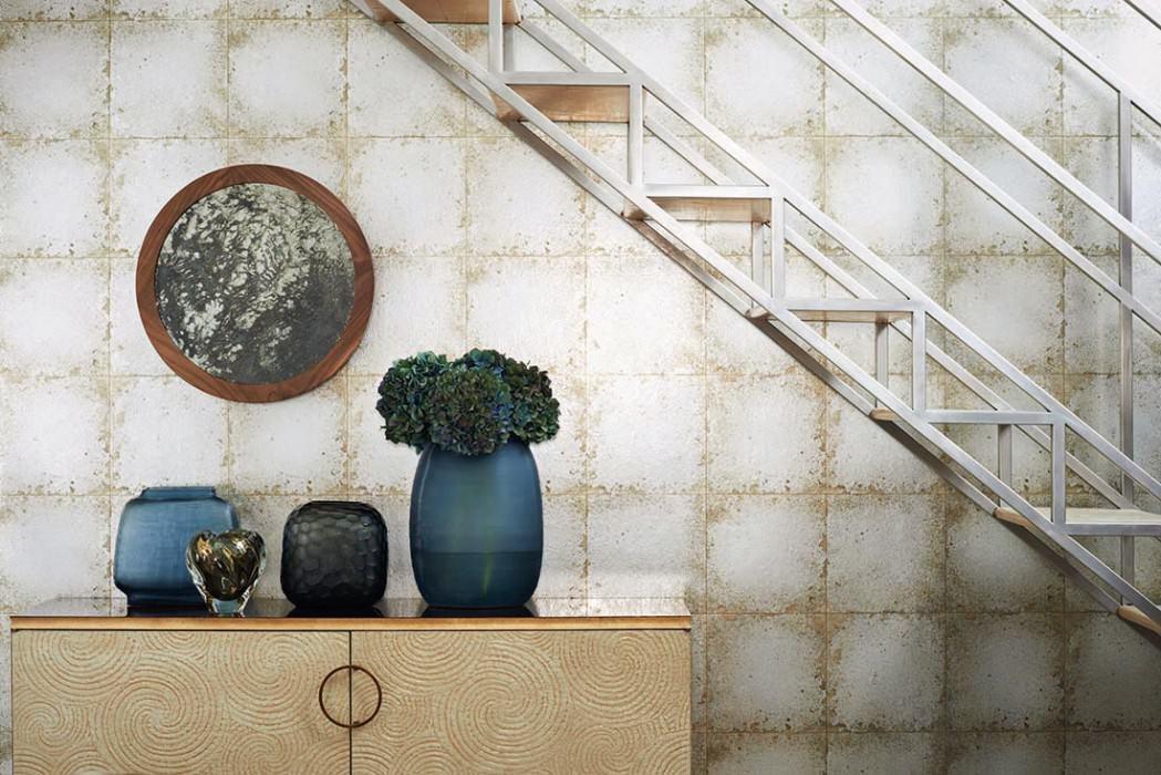 Papel de parede Heilango Brilhante Imitação de azulejo esmalte Bege acinzentado Prateado mate Cinza prateado