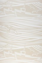 Wallpaper Ulysses Matt Boats Sea gulls Waves Light beige Cream