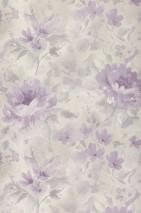 Tapete Charlaise Matt Blumen Grauweiss Hellgrau Pastellviolett Violett
