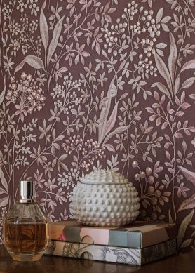 Wallpaper Pilar mahogany brown Raumansicht