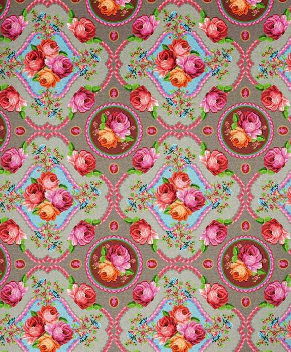 Wallpaper Wabasso Matt Flowers Floral damask Grey Yellow green Light grey Pink Red