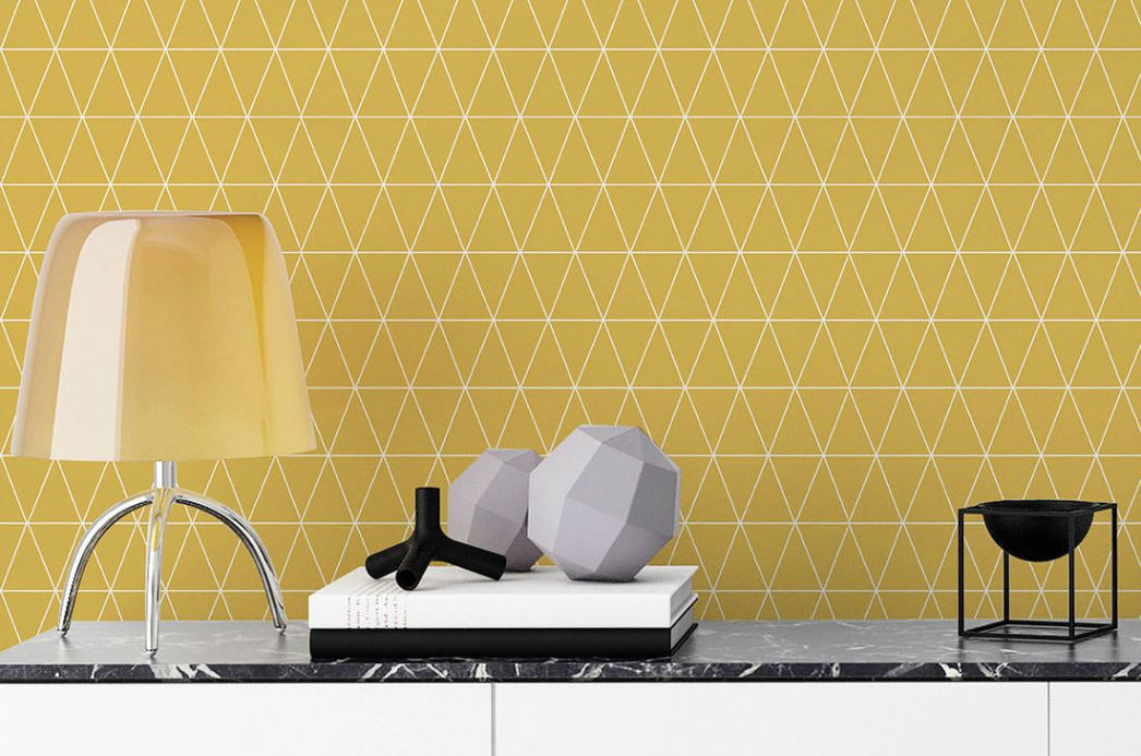 Geometric Wallpaper Wallpaper Svarog ochre yellow Room View