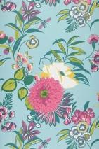 Wallpaper Petronella Matt Flowers Pastel turquoise Pale yellow Fuchsia Yellow green Turquoise blue