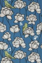 Papel de parede Ibusa Mate Flores Gavinhas Pássaros Azul celeste Verde pálido Preto Branco