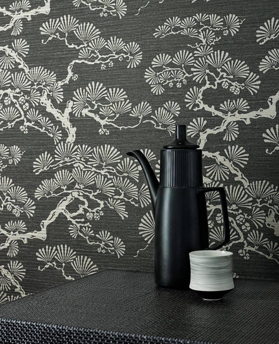 Papier peint komolung gris fonc blanc gris brillant - Papier peint motif arbres ...