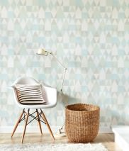Wallpaper Alice Hand printed look Matt Geometrical elements Pale blue Pale green Cream Light grey