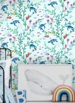 Papier peint Miali Mat Bulles Crabes Méduses Tortues de mer Plantes aquatiques Bleu pâle Tons de bleu Jaune Tons de vert Orange Tons de violet