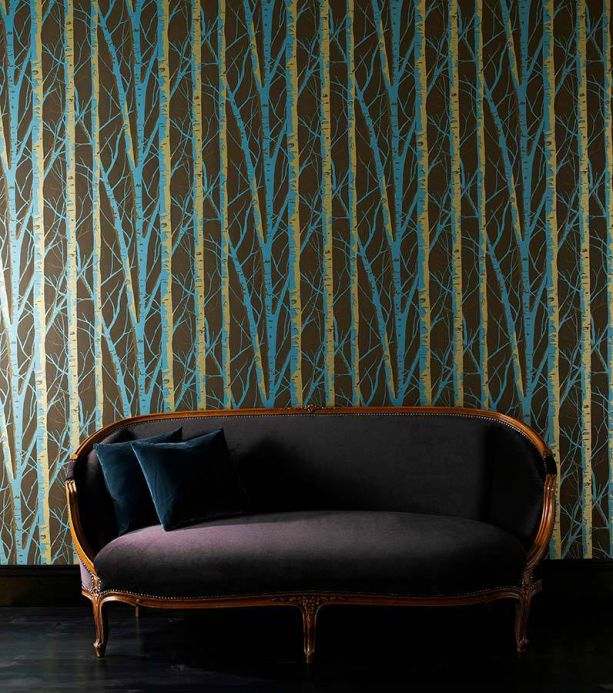 Archiv Wallpaper Diomedes turquoise pearl lustre Room View