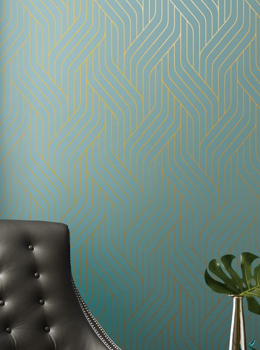 Modern Wallpaper Wallpaper Flapper pastel turquoise Room View