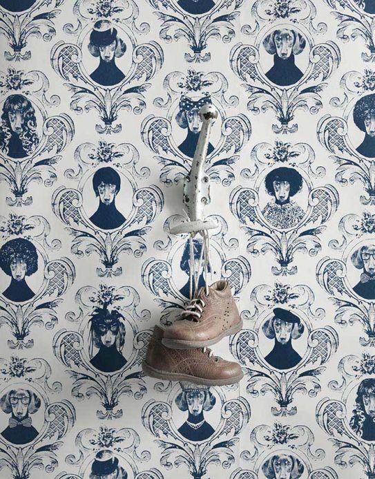 Damask Wallpaper Wallpaper Tillsammans dark blue Room View