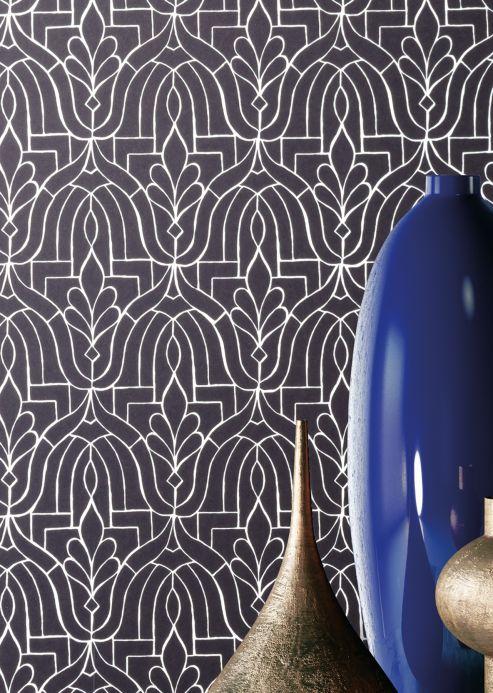 Classic Wallpaper Wallpaper Lotus black Room View