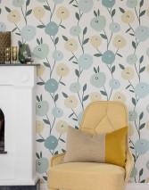 Wallpaper Alma Matt Leaves Stylised blossoms Grey white Dark green Ivory Mint turquoise Pastel green