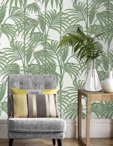 Papel de parede Tatanu Padrão mate Superficie base brilhante Folhas de Palmeira Branco cintilante Verde escuro Verde pastel