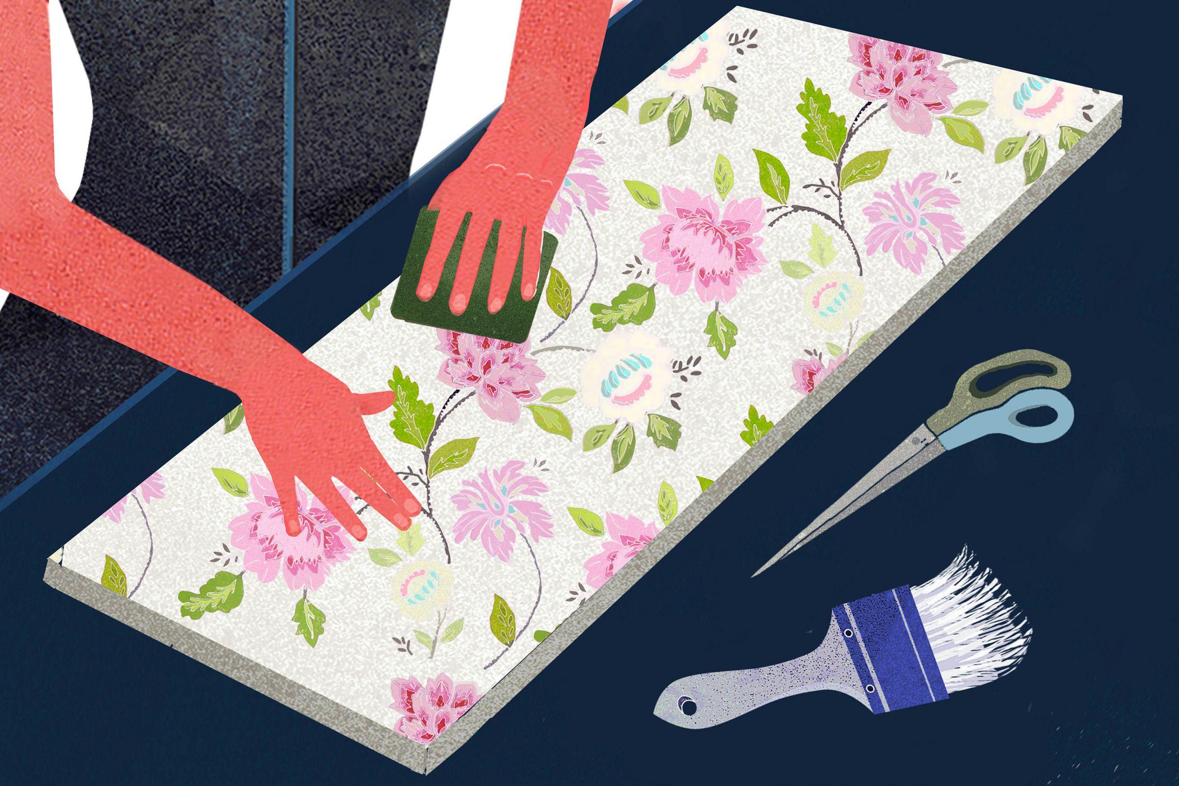 Comment-decorere-des-meubles-avec-du-papier-peint-Pre-couper-le-papier-peint-et-le-poser