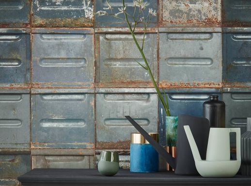 Wallpaper Container grey blue Room View