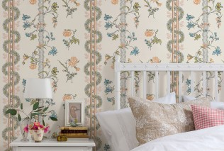 Wallpaper Marion Hand printed look Matt Flower tendrils Graphic elements Cream Pale green Brown red Light blue Light yellow Light orange