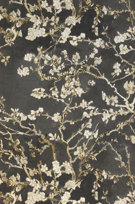 Carta da parati floreale Carta da parati VanGogh Blossom grigio ombroso Larghezza rotolo