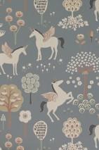Papel pintado True Unicorns Efecto impreso a mano Mate Árboles Flores Unicornios Gris Antracita Verde pálido Rojo parduzco Marrón beige claro Marfil claro