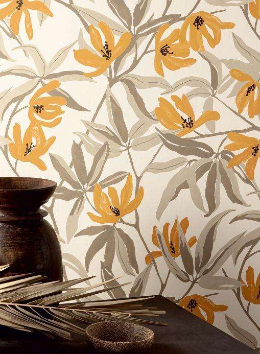 Papel pintado floral Papel pintado Tarbana marrón ocre Ver habitación
