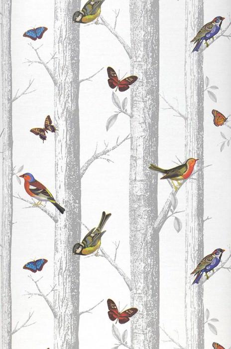 Wallpaper Rovoloni Matt Trees Butterflies Birds White Blue Brown Shades of green Red orange