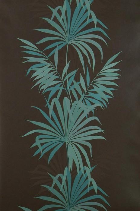 Papel pintado Avatara Patrón reluciente Superficie base mate Hojas de palma Marrón grisáceo Turquesa lustre