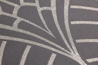 Papel de parede Windessa Padrão brilhante Superfície base mate Art Déco Curvas Cinza escuro Prateado cintilante Prata brilhante