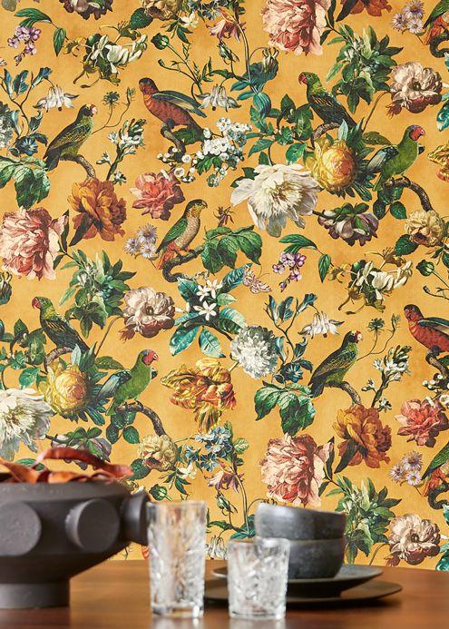 Papier peint botanique Papier peint Margarete ocre Vue pièce