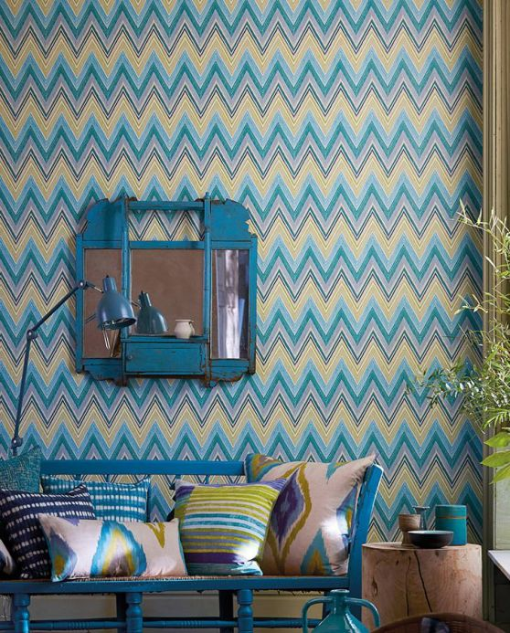 Geometric Wallpaper Wallpaper Vasuki light turquoise blue Room View