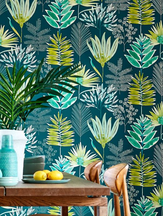 Floral wallpaper Wallpaper Hilma green yellow Room View
