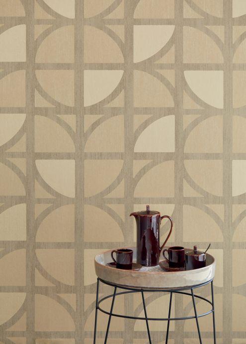 Papier peint géométrique Papier peint Salima beige Vue pièce