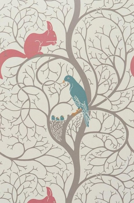 Wallpaper Belenos Matt Tree Squirrels Birds Light ivory Beige brown Red Turquoise