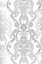 Wallpaper Kesara Matt Baroque damask White Grey beige Black grey Silver