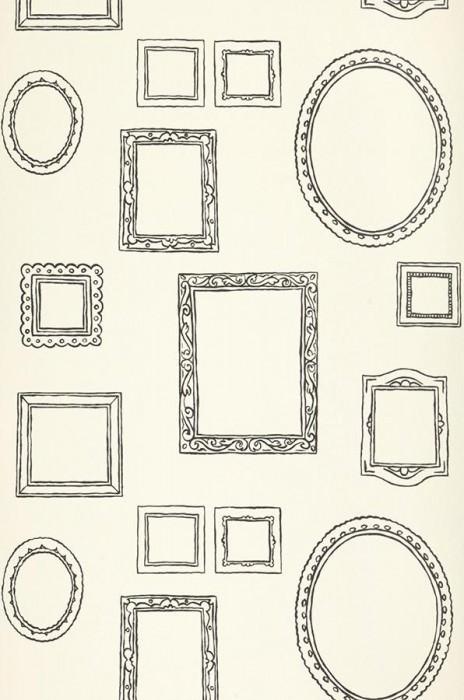 Wallpaper Tisiphone Fine linen look Matt Picture frames Cream Black grey