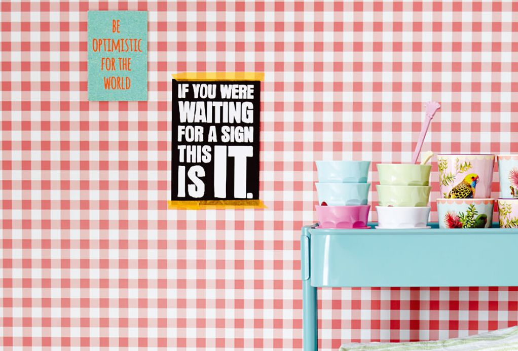 Geometric Wallpaper Wallpaper Marisol rosè Room View